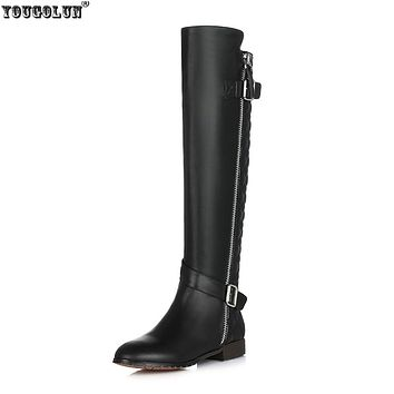 YOUGOLUN Ladies fashion buckle winter knee high boots woman genuine leather women black beige winter shoes thigh high boots