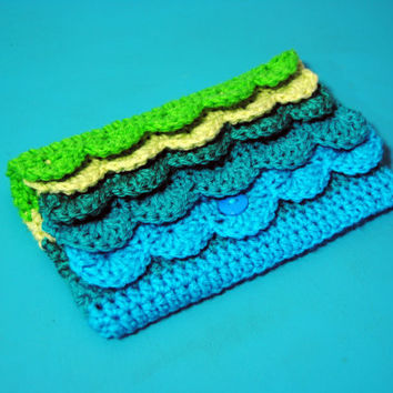 Crochet Clutch, Purse, Pencil Bag, Makeup Bag, Ombre Clutch, Crochet Wallet, Womens, Pencil Pouch, Ruffle Clutch, Ombre Ruffles, Custom
