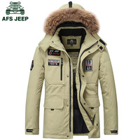 Men's AFS Jeep White Duck Down Winter Thick Casual Warm Collar Jacket Hooded Coat Parka