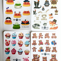 Freebie Collection (Cupcake Teddy Bears Halloween Thanksgiving) Decorative Planner Stickers