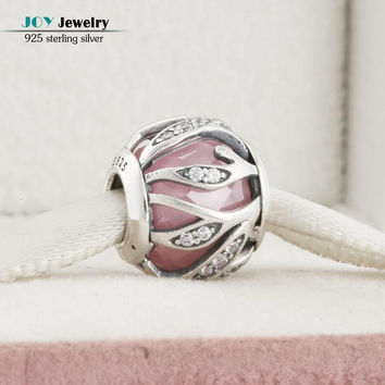 Fit Pandora Bracelets Pink Nature's Radiance Charms Original 925 Sterling Silver CZ Leaves Beads For Jewelry Making 2016 Autumn