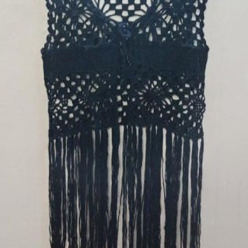 Cut Out V-Neck Crocheted Waistcoat