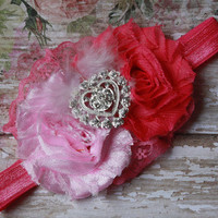 VALENTINES HEADBAND, baby girl, pink, dark pink, chic, rhinestone, heart, photo prop, boutique, shabby, flower,