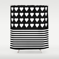Heart Stripes White on Black Shower Curtain by Project M