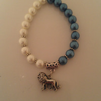 Blue and White Pearl Lion Bracelet, Lion Charm Bracelet, Handmade Lion Teal Pearl Bracelet, Alpha Delta Pi colors, FREE SHIPPING