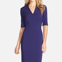 Petite Women's Tahari V-Neck Woven Sheath Dress,