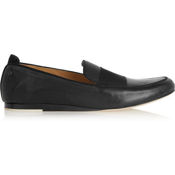 Rag & bone - Sia grosgrain-trimmed textured-leather loafers