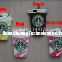 new Model 1pc 3D Cute Starbuck Coffee Soft Silicon Mobile Phone Cases Covers Skins for iPhone 5 5S 5C with Free Shipping