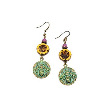 Yellow Flower and Bee Charm Earrings
