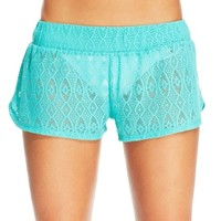 Amazon.com: Miken Crochet Pull on Cover up Swim Shorts