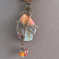 Wire Wrapped Jasper Stone Dragonfly Pendant Necklace