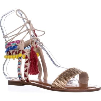 Indigo Rd. Doe Flat Ankle Tie Up Sandals, Gold Multi, 7.5 US