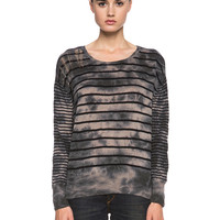 Cashmere Pullover in Black Stripe Marble