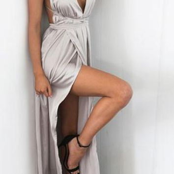 Ivory Tower Satin Sleeveless Spaghetti Strap V Neck Backless Double Slit Maxi Casual Dress - 7 Colors Available