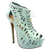 Jacklyn-09 Mint Lace up Platform Peep Toe Pump High Heel Shoes