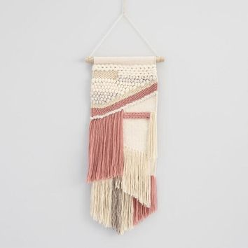 Blush and White Fringe Woven Wall Hanging