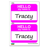 Tracey Hello My Name Is - Sheet of 2 Stickers