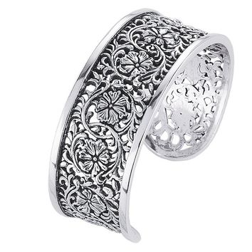 Sterling Silver Floral Filigree Cuff Bracelet 22mm