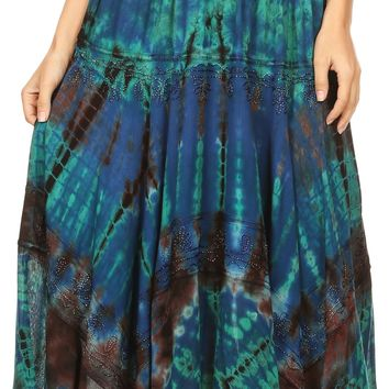 Sakkas Justina Womens Dance Midi Full Circle Tie-dye Skirt with Elastic Waist