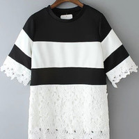 Black and White Color Block Short Sleeve Lace Detailed Blouse