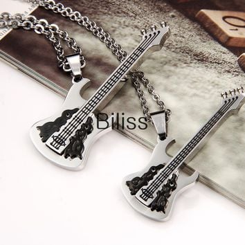 SHIPS FROM USA Fashion Polished 2-Tone Stainless Steel Guitar Pendant Necklace, Lovers Couple Guitar Pendants Valentine's gift 2 piece