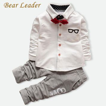 Bear Leader Baby Clothing Sets Kids Clothes  Baby Sets Kids Long Sleeve Sports Suits Bow Tie T-shirts + Pants Boys