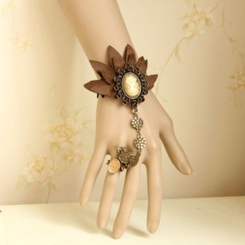 Vintage Brown bracelet with Finger Chain