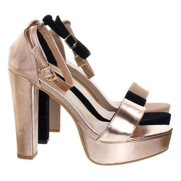 Thomas52 Retro Chunky Block High Heel Platform Sandal, Women Open Toe Party Shoe