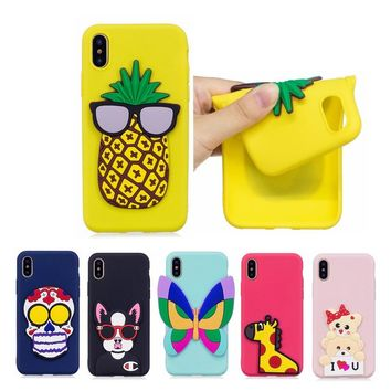 Fashion For Apple iphone X Case Soft Silica gel 3D Cartoon Pattern For Apple iphone 8 Case For Apple iphone 8 Plus Phone Cover