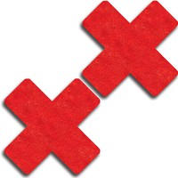 Red Satin Self Adhesive Flat Cross Pasties. (One Size,Red)