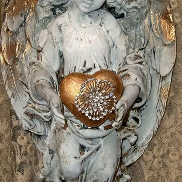 Angel sculpture with rhinestone halo French chic white embellished statue with crown hand painted distressed home decor Anita Spero