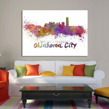 Large Wall Art Watercolor Oklahoma City Skyline Canvas Print