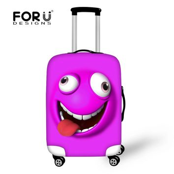 FORUDESIGNS 3D Funny Emoji Print Elastic Luggage Protective Covers For 18-30 Inch Cases Thick Waterproof Travel Suitcase Cover