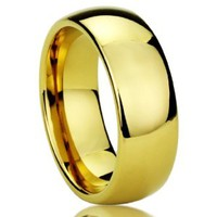 8MM Titanium Comfort Fit Wedding Band Ring Yellow Tone High Polished Classy Domed Ring (6 to 14)