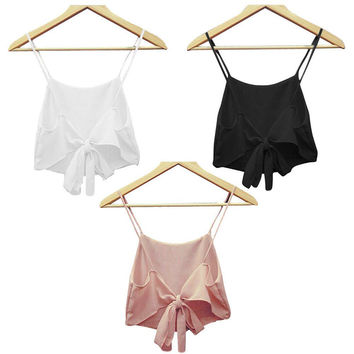 Hot New Summer Sexy Women Backless Camisole halter top bustier Crop Bralette Crochet Tops Strappy Bra Tank Sleeveless Vest  Z1