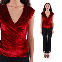 90s Red Crushed Velvet Wrap Shirt 1990's Vintage Goth Holiday Party Clothing Womens Size Small Medium
