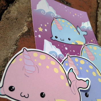 Chibi Narwhal kawaii sticker set of four in pastel goth style colours, kawaii stationary, lolita style