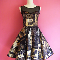 Sew Spooky...Black Skulls n Spells Goth Prom Dress with Built in Petticoat and Mesh