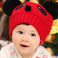 Toddlers Winter Hat Baby Kids Cartoon Panda Ball Knitted Crochet Beanie Cap