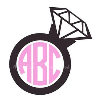 Monogram Ring Vinyl Decal - Personalized Car Sticker - Engagement Ring Monogram Decal