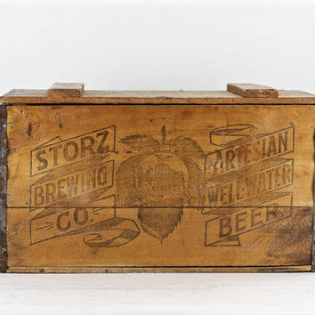 Vintage Beer Crate, Storz Brewing Co. Omaha NE, Vintage Beer Crate, Storz Brewing Artesian Well-Water Beer, 1920's Beer Crate XXL Beer Crate