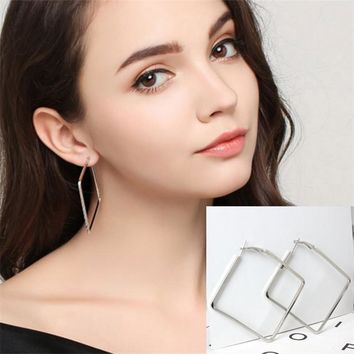 New Arrival Korea Style Simple Brief Square Pendants Silver Drop Earrings Long Fresh Personality Earrings For Women Accessories