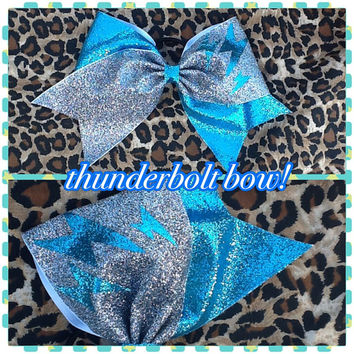 Cute thunder bolt glitter cheer bow blue and silver