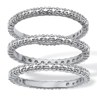 Diamond Accent Platinum-Plated 3-Piece Stackable Eternity Band Ring Set