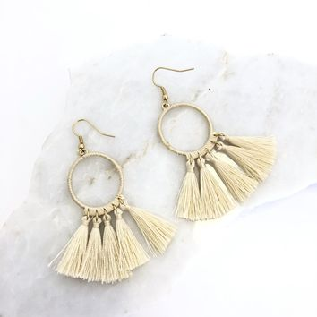 Tassel Earring in Tan