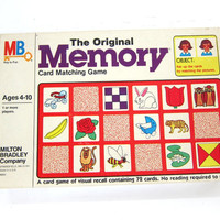 Vintage 1980s Memory Card matching game / Milton Bradley / Complete