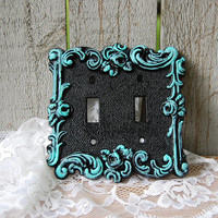 Double Wall Plate, Double Switch Cover, Shabby Chic, Tiffany Blue, Black, Ornate, Vintage