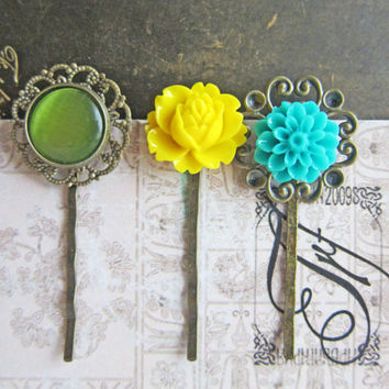Flower Hair Pins Spring Summer Colors Yellow Green Turquoise Blue Aqua Romantic Dreamy Shabby Chic Victorian Set of 3