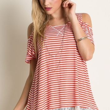 UMGEE red stripe cold shoulder lace top