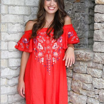 Tomato Red Off Shoulder Dress